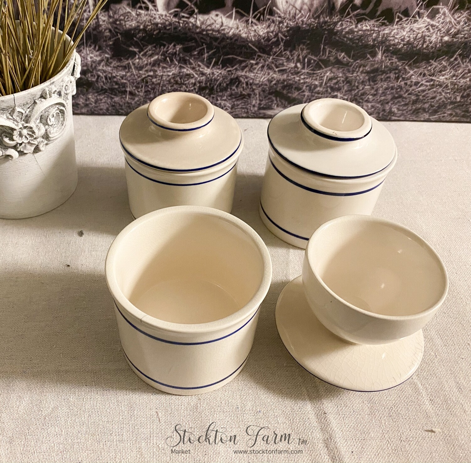 Ivory & Blue Stoneware Butter Crock