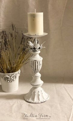 White Distressed Metal Candlestick