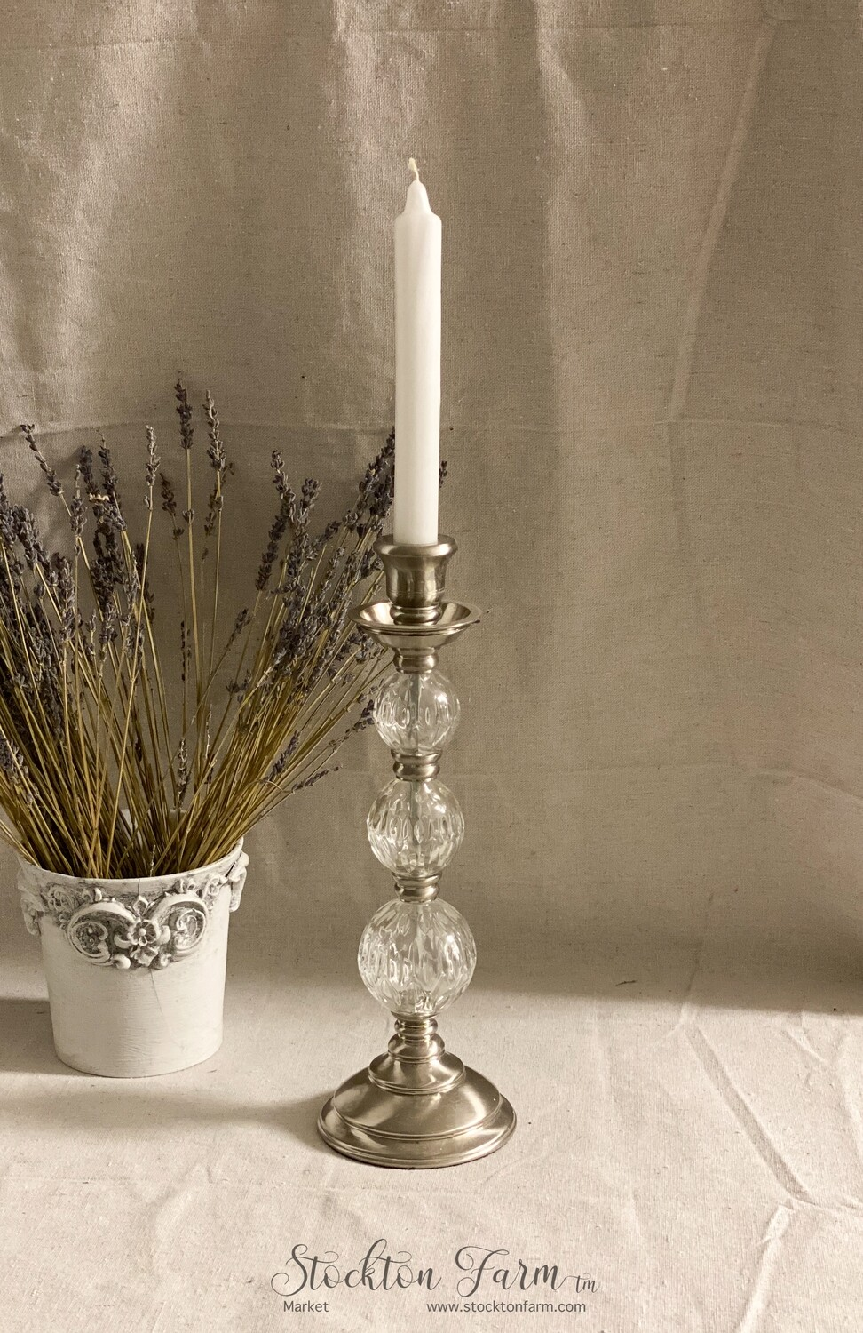 Stainless & Glass Candlestick Holder