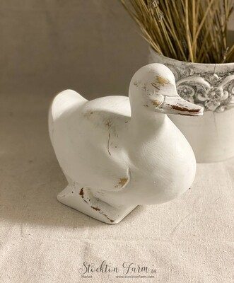 White Distressed Resin Duck Figurine