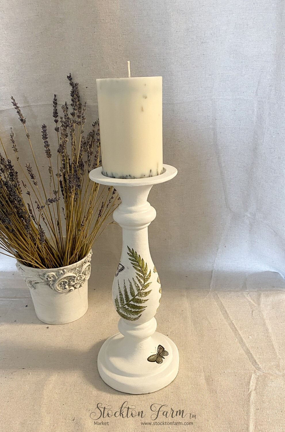 """Farmhouse Inspired 12"""" Clay Candlestick"""