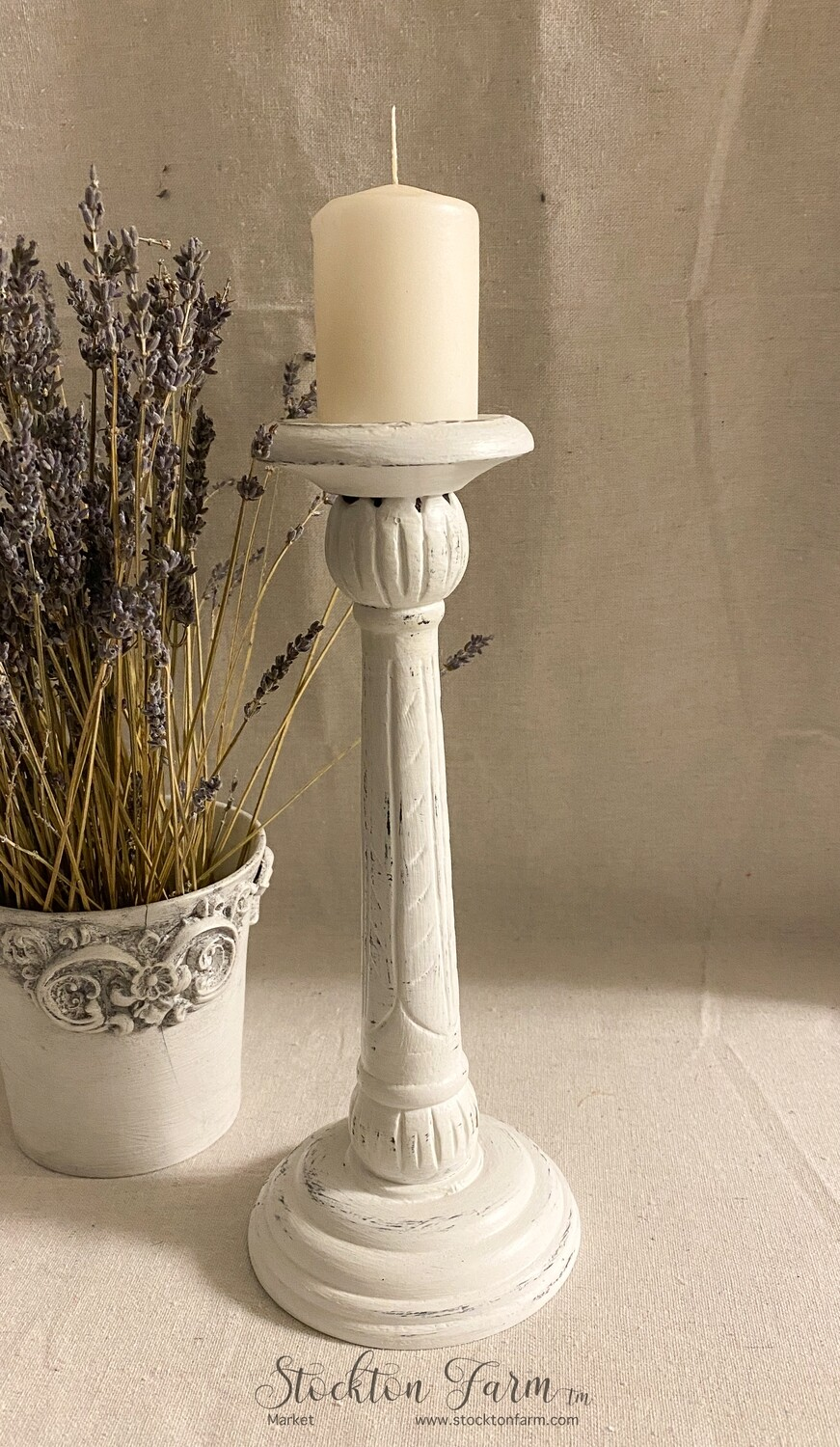 Farmhouse Inspired Wood Candlestick
