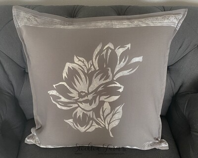 Magnolia Gray Throw Pillow Covers 20x20