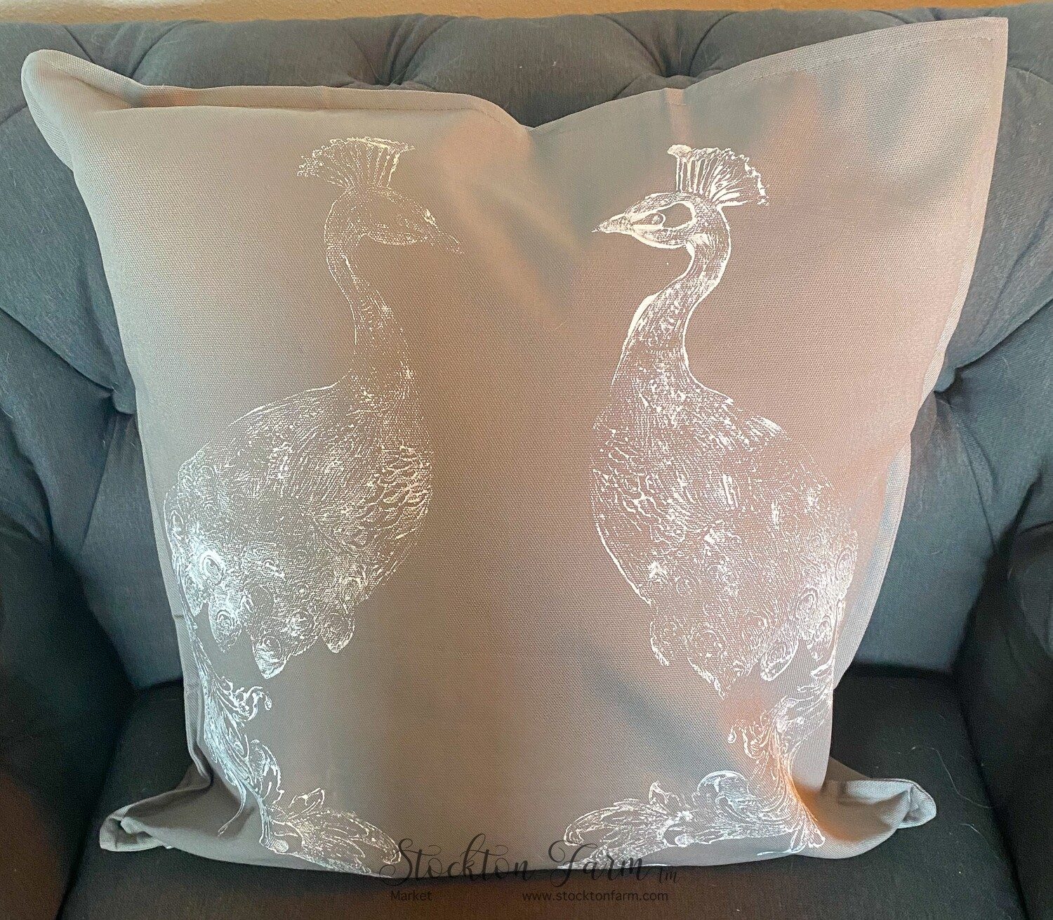 Peacock Gray Throw Pillow Covers 20x20 - Free Shipping!
