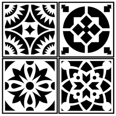 JRV Spanish Tile 4 Pack Stencil
