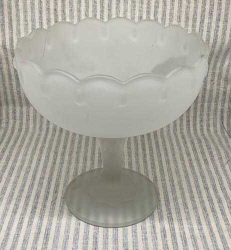 Indiana Frosted Glass Stemmed Pedestal Bowl Teardrop Design - White