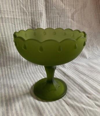 Indiana Frosted Glass Stemmed Pedestal Bowl Teardrop Design - Green