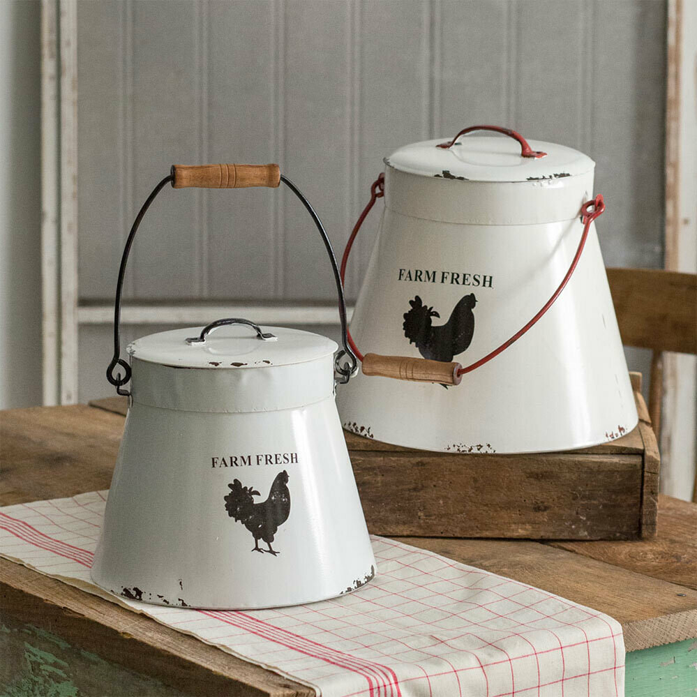 Rustic Farmhouse Decorative Buckets with Lids