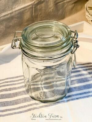 Wire Closure Green Tinted Glass Jar 24oz