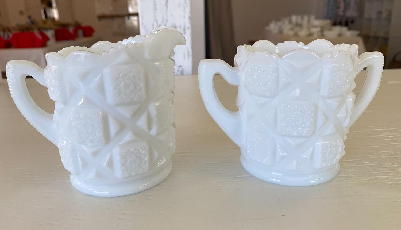 Westmoreland Old Quilt Milk Glass Open Cream & Sugar Set