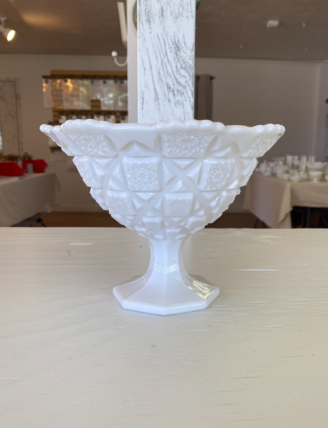 Westmoreland Old Quilt Milk Glass Footed Bell Bowl