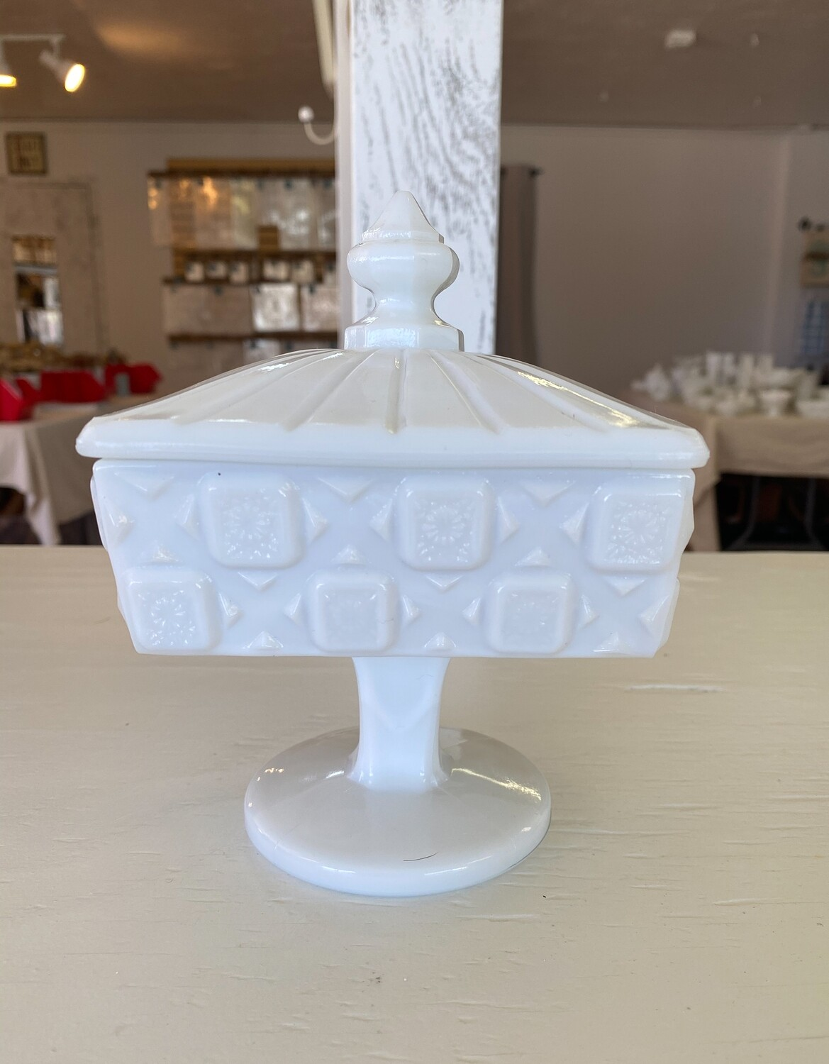 Westmoreland Old Quilt Milk Glass Footed Candy Dish & Lid