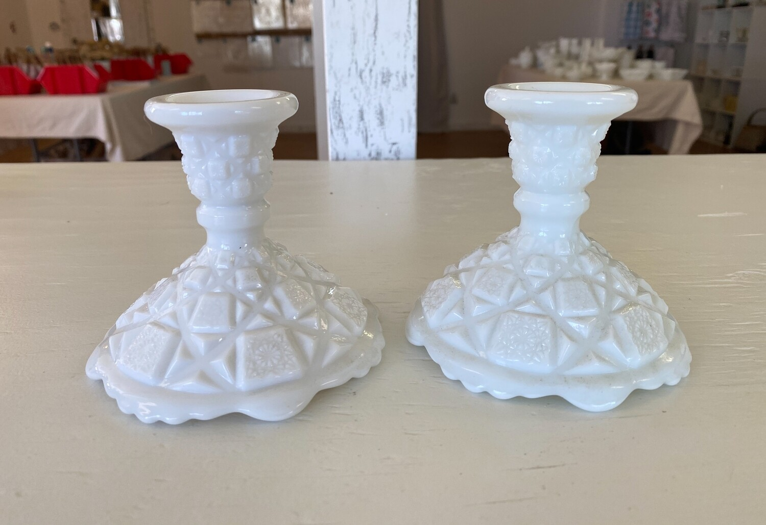 Westmoreland Old Quilt Milk Glass Single Light Candlestick Pair
