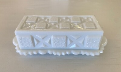 Westmoreland Old Quilt Milk Glass Quarter Pound Covered Butter