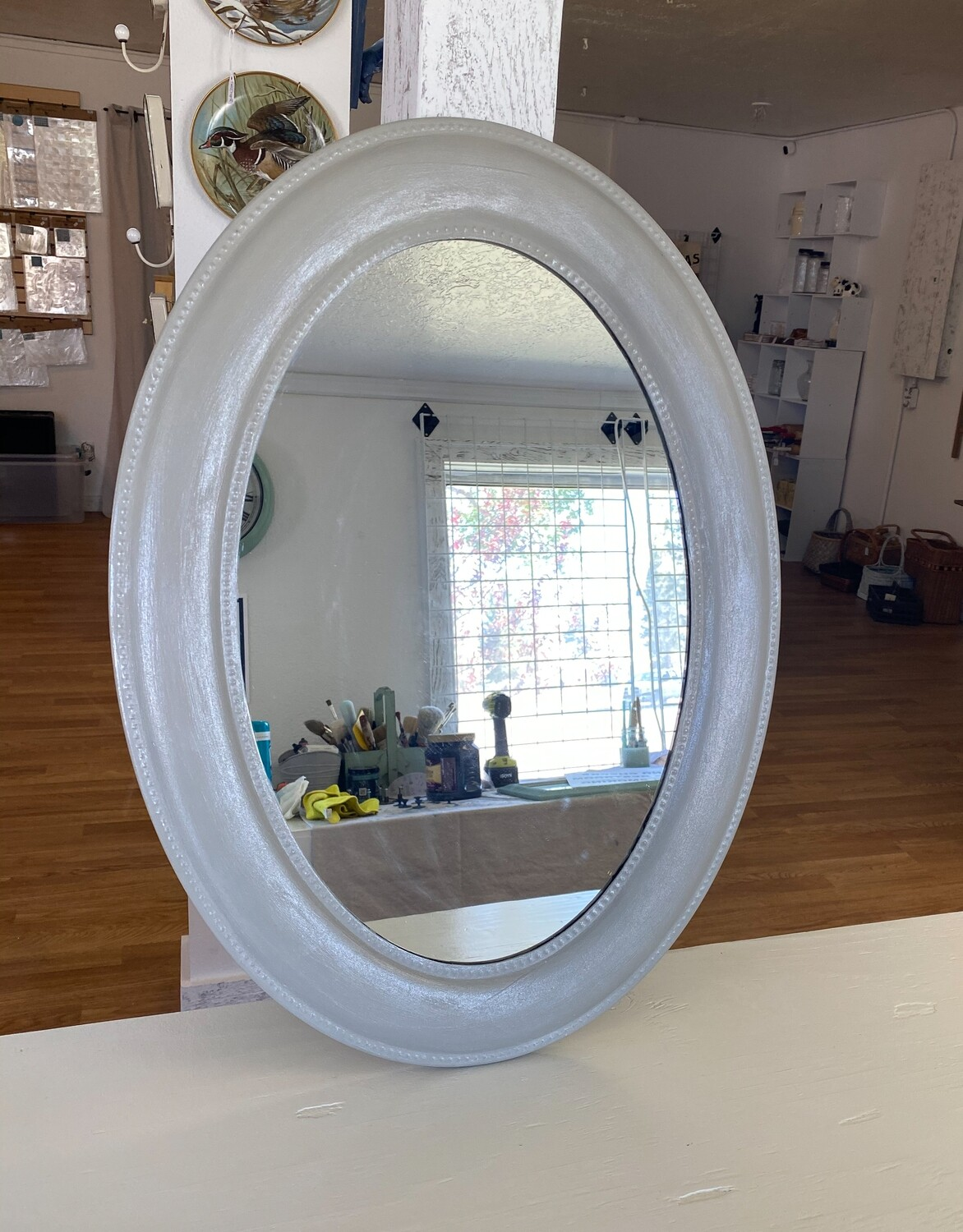 Silver Shimmer Oval Mirror