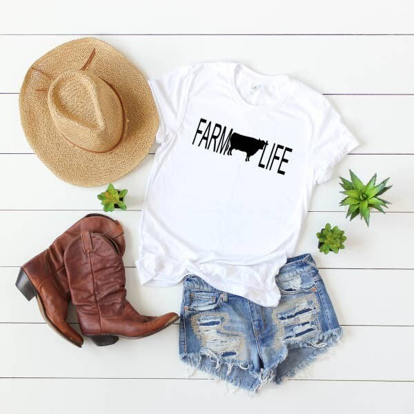 White Farm Life Cow Unisex T-Shirt - Free Shipping