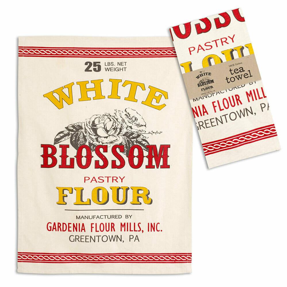 """White Blossom Flour Tea Towel. 20"""" x 28"""""""