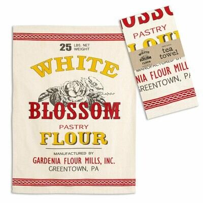 White Blossom Flour Tea Towel 100% Cotton - Free Shipping!