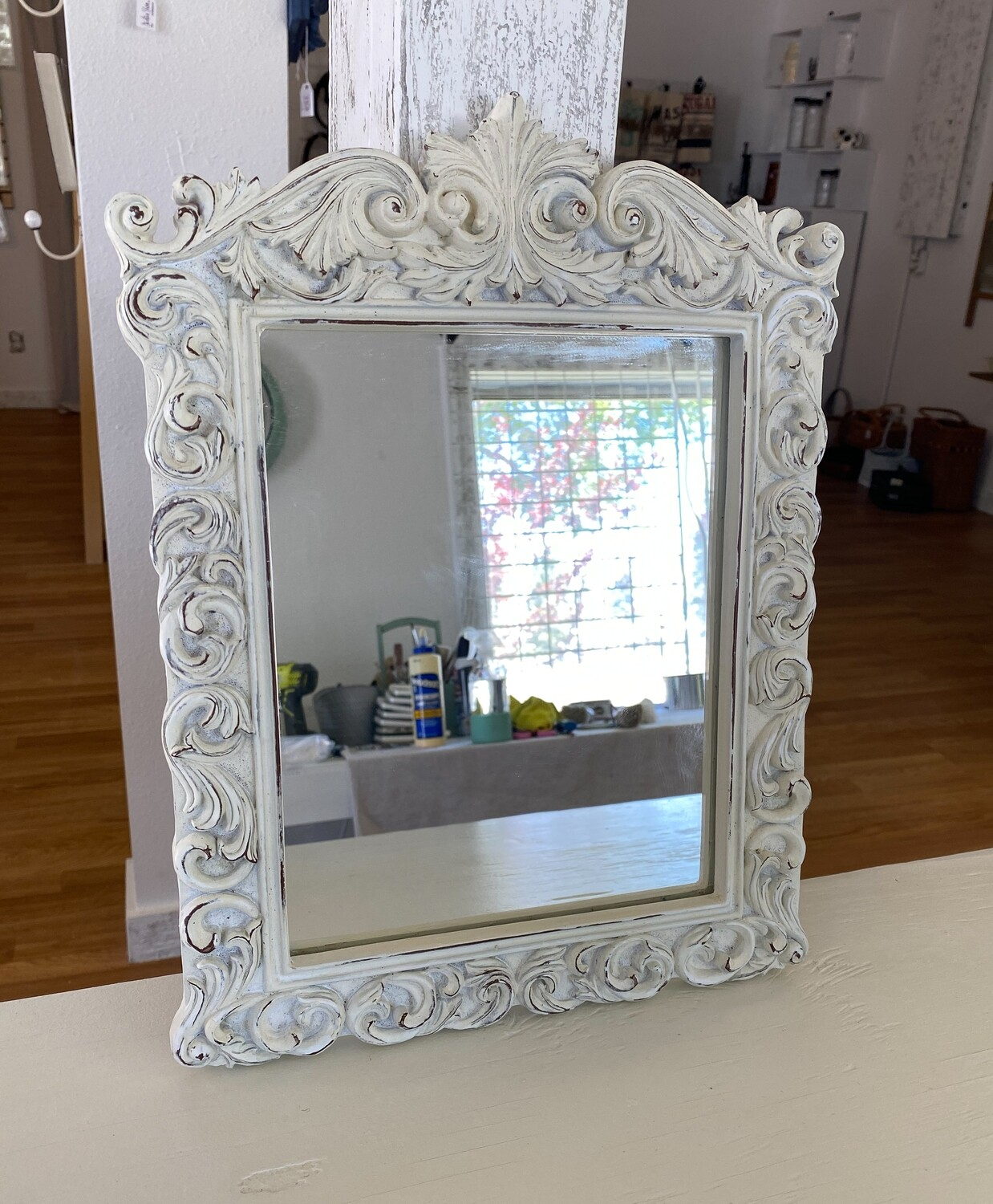 French Country Design White Wall Mirror