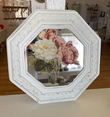 White Distressed Floral Design Wall Mirror