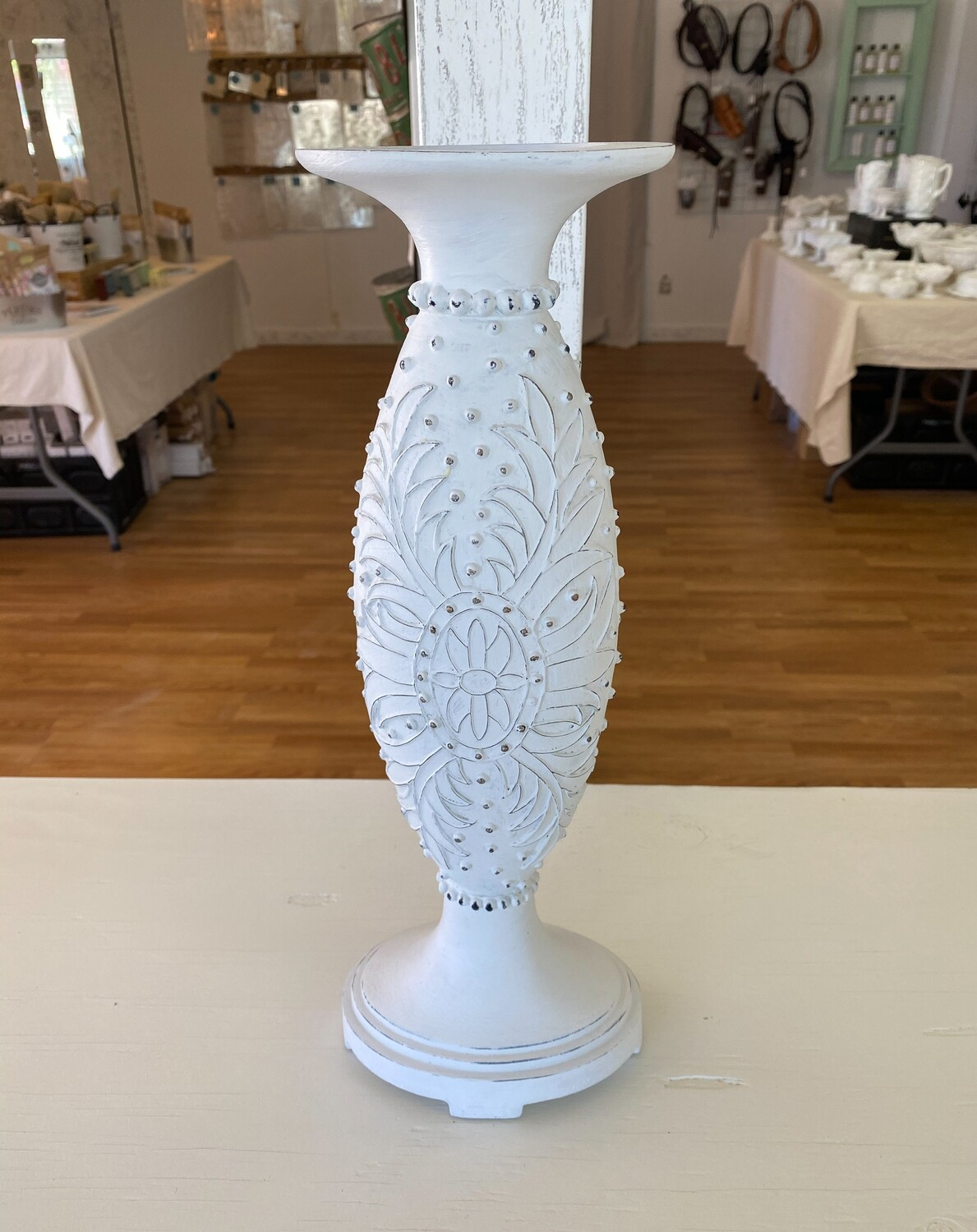 """White Distressed Candlestick Holder 15.5"""""""