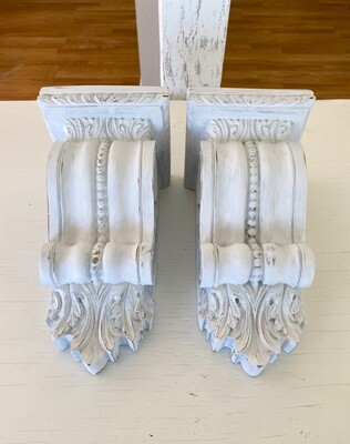 French Country Inspired White Corbel Pair