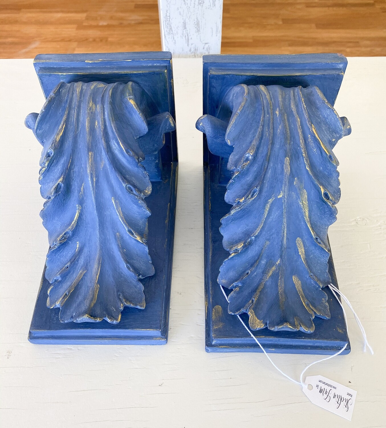 French Country Inspired Blue Corbel Pair