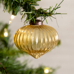 Handcrafted Vintage Inspired Gold Glass Ornament