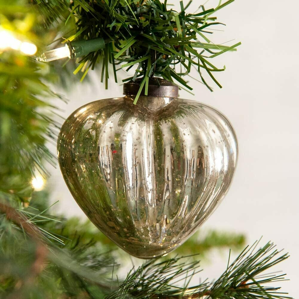 Handcrafted Silver Heart Glass Ornament