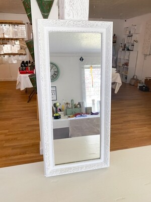 White Distressed Oblong Wall Mirror