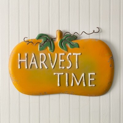 Harvest Time Metal Pumpkin Wall Decor
