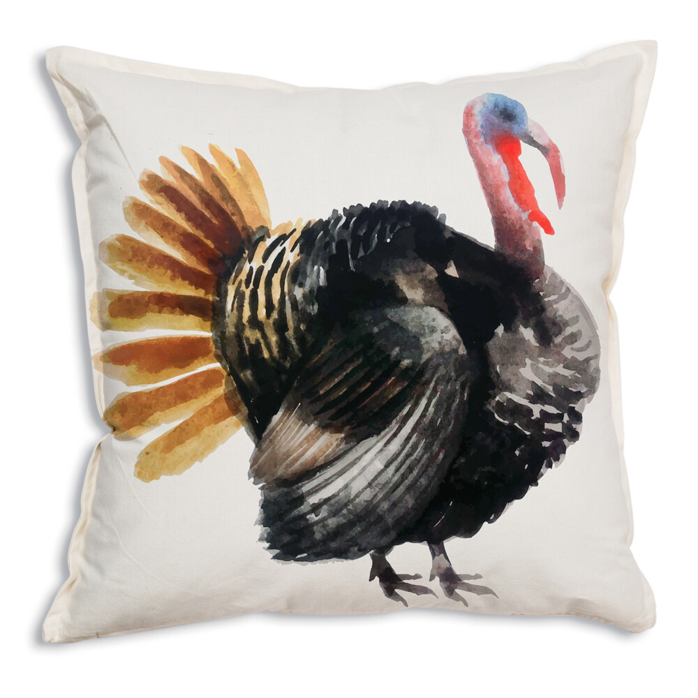 Watercolor Turkey 100% Cotton Throw Pillow 18x18 - Free Shipping