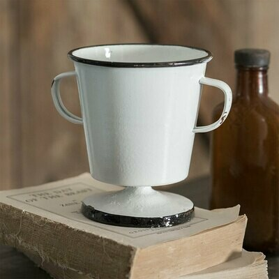 White Vintage Inspired Two Handed Cup