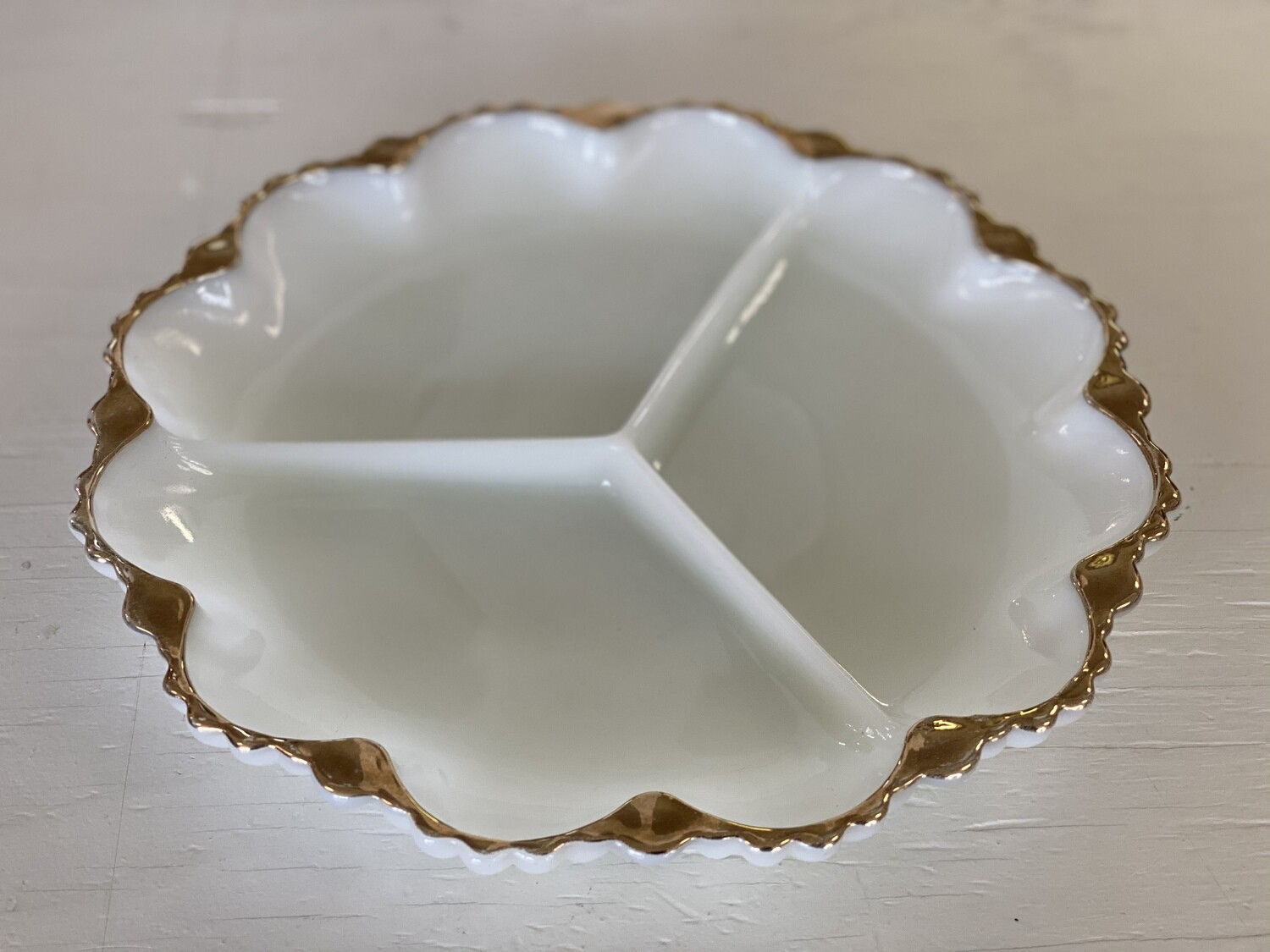 Anchor Hocking Milk Glass Relish Dish with Gold Trim