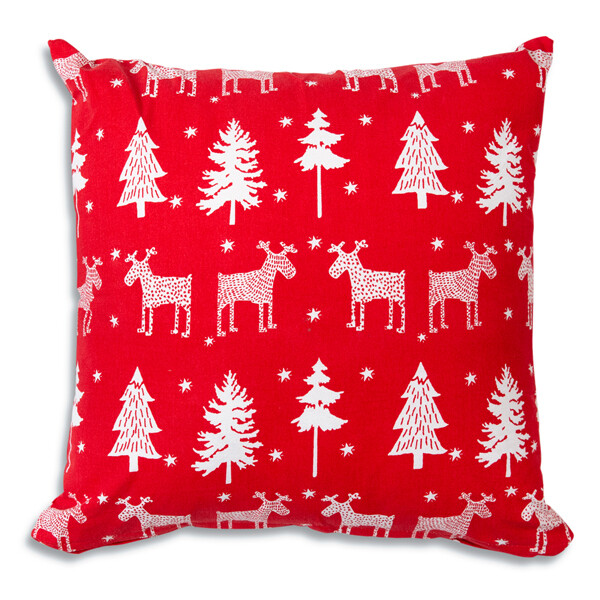 """Reindeer and Trees Cotton Throw Pillow 18""""x18"""""""