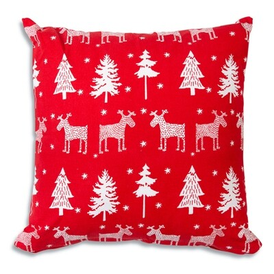 Reindeer and Trees Cotton Throw Pillow 18