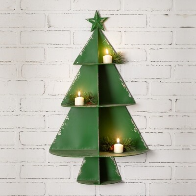 Christmas Tree Metal Wall Decor Shelf