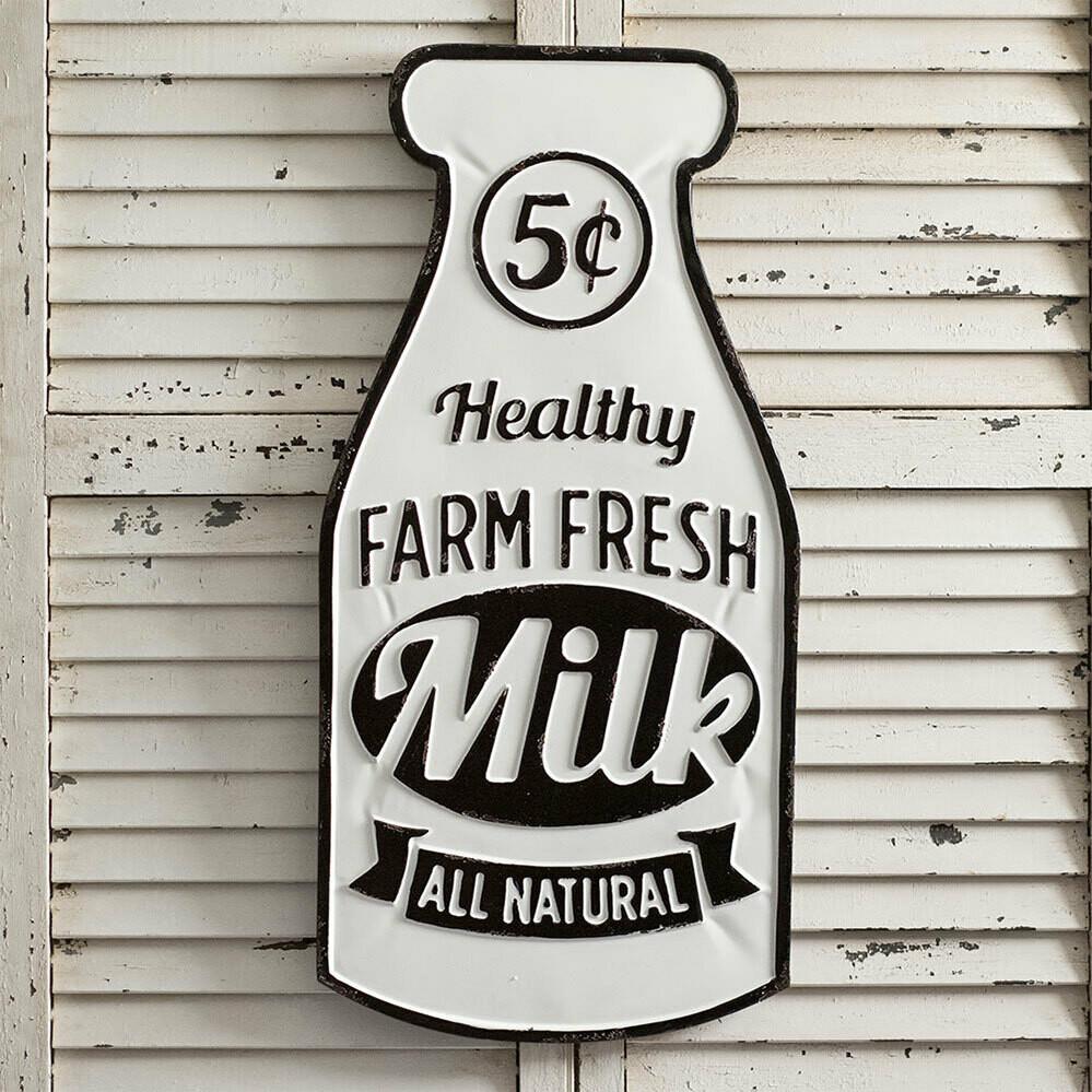 Farm Fresh Milk Metal Sign