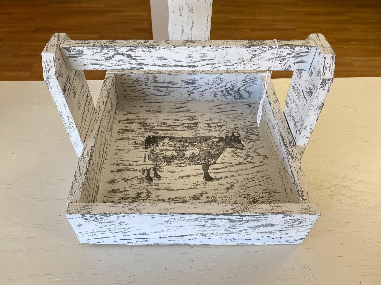 White Printed Wood Tote