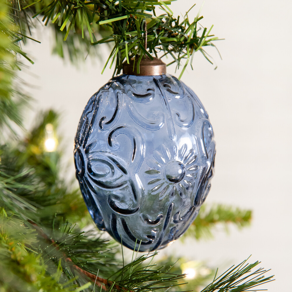 Blue Egg Shaped Glass Ornament