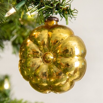 Gold Pillow Glass Ornament