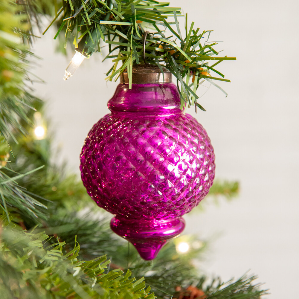 Pink Lamp Shaped Glass Ornament