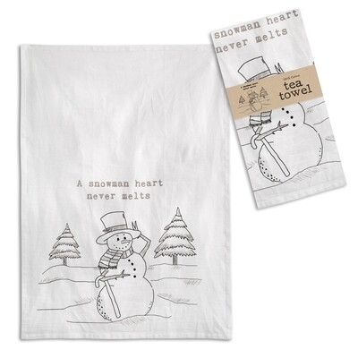 A Snowman's Heart Tea Towel