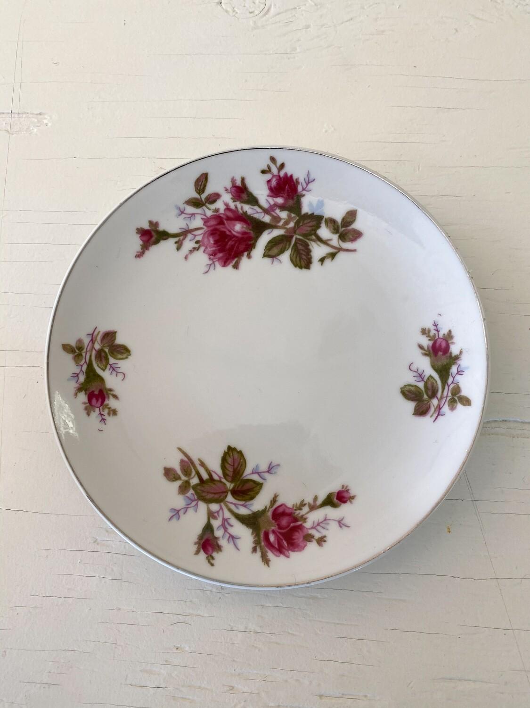 Rose Pattern China Small Plate by SANKYO (JAPAN)