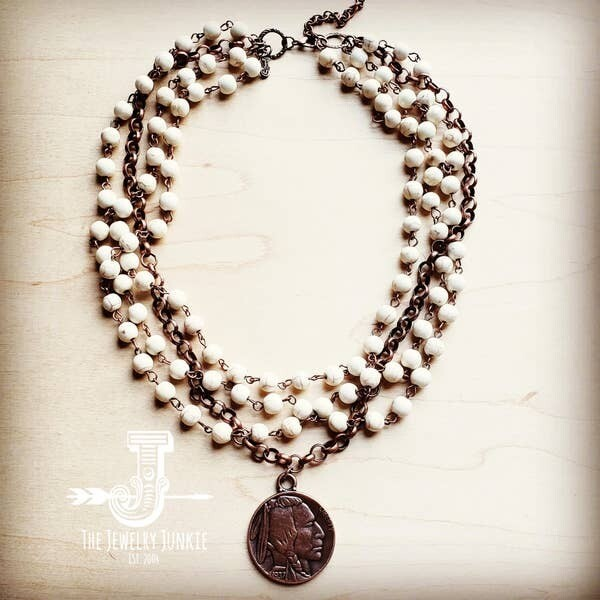 White Turquoise & Copper Necklace with Copper Coin