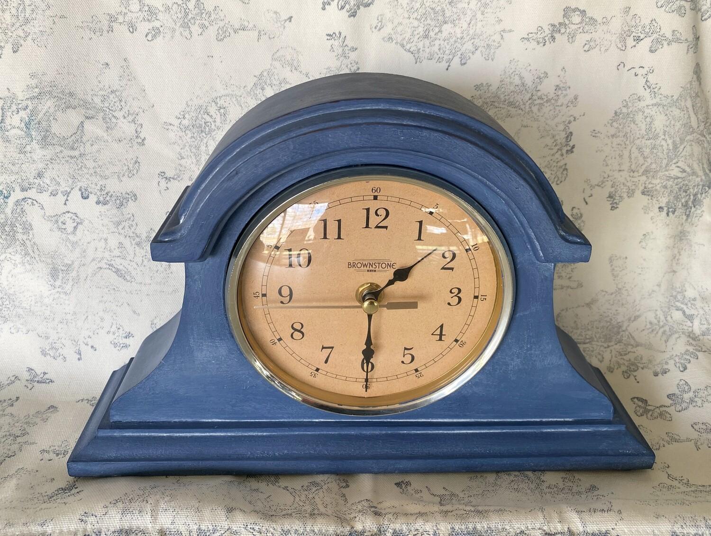 Refurbished Brownstone Wood Mantle Clock