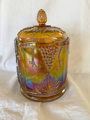 Indiana Glass Harvest Marigold Carnival Glass Canister
