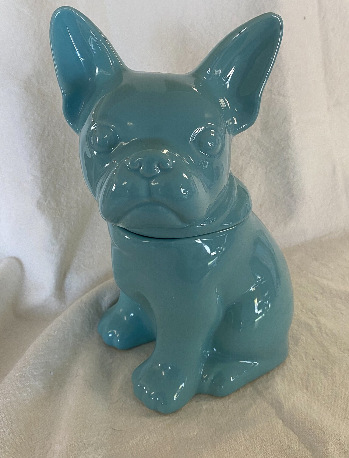 Threshold Teal Blue French Bulldog Cookie Jar