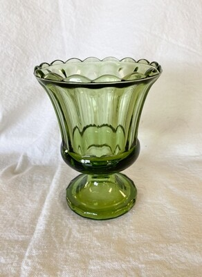 Green Glass Pedestal Dish/Planter