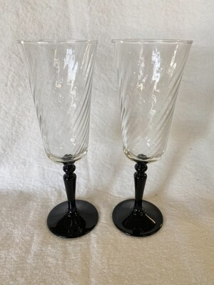 Vintage Clear Swirl & Black Amethyst Footed Champagne Glass - Pair